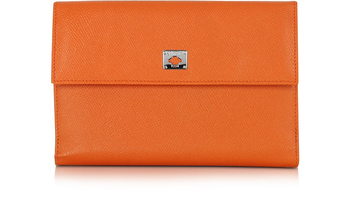 City Chic Orange Leather French Purse Wallet - Pineider