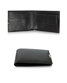 1949 Black Leather Men's Wallet W/Coin Pocket - Pineider