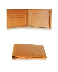Country Cognac Leather Billfold Wallet w/Flap - Pineider