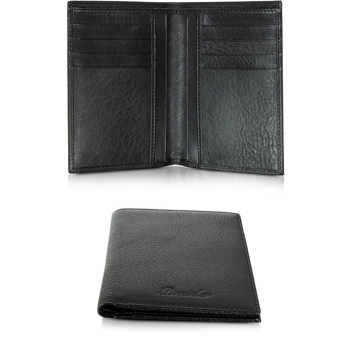 Country Black Leather Vertical Wallet - Pineider