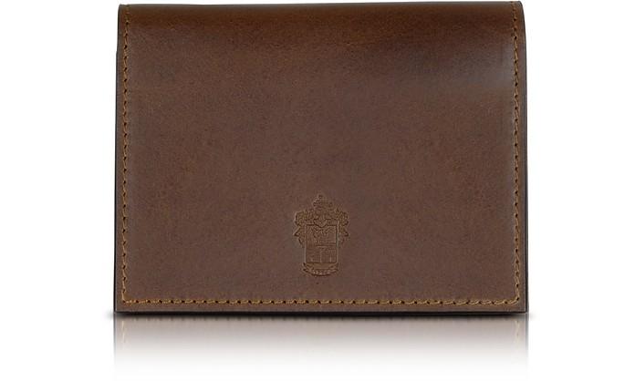 Power Elegance Double Dark Brown Leather Card Holder - Pineider