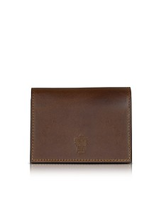 Power Elegance Double Dark Brown Leather Card Holder - Pineider