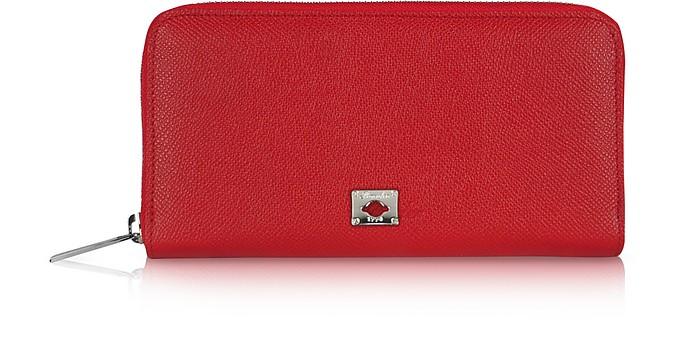 City Chic - Damenbrieftasche mit Rundumreißverschluss aus Kalbsleder - Pineider