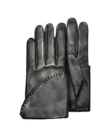 Women's Black Short Nappa Gloves w/ Silk Lining - Pineider