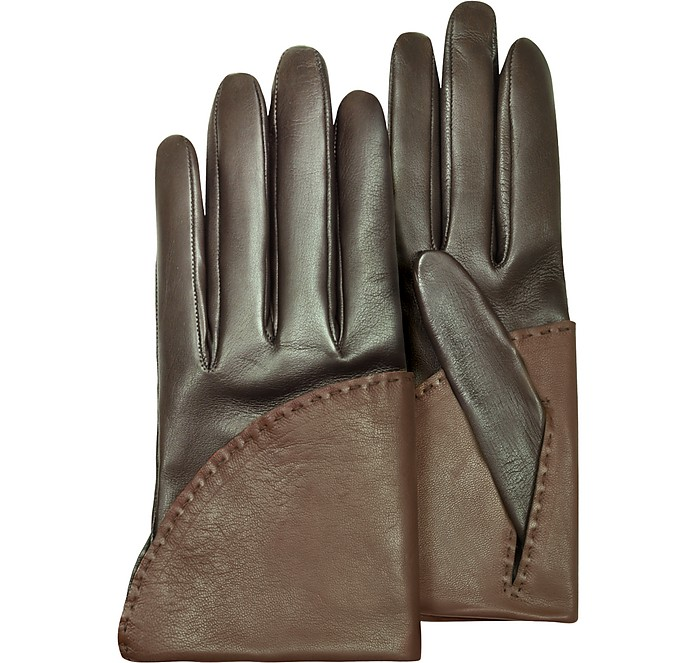 Women's Two-Tone Brown Short Nappa Gloves w/ Silk Lining  - Pineider