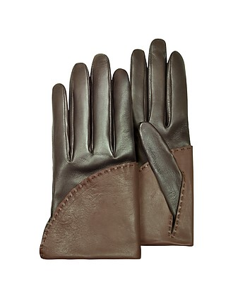 70bbb6b65067 Pineider. Women s Two-Tone Brown Short Nappa Gloves w  Silk Lining …