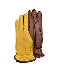 Men's Two-Tone Deerskin Leather Gloves w/ Cashmere Lining - Pineider