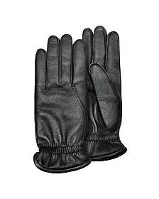 Men's Black Deerskin Leather Gloves w/ Cashmere Lining - Pineider