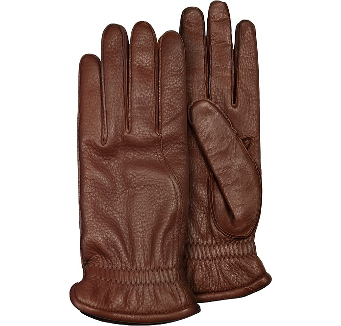 54d14ef8fa7a Pineider Men s Brown Deerskin Leather Gloves w  Cashmere Lining 8.5 ...