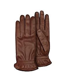 Men's Brown Deerskin Leather Gloves w/ Cashmere Lining - Pineider