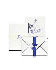 Capri - 25 White Cards with Handpainted Blue Border - Pineider