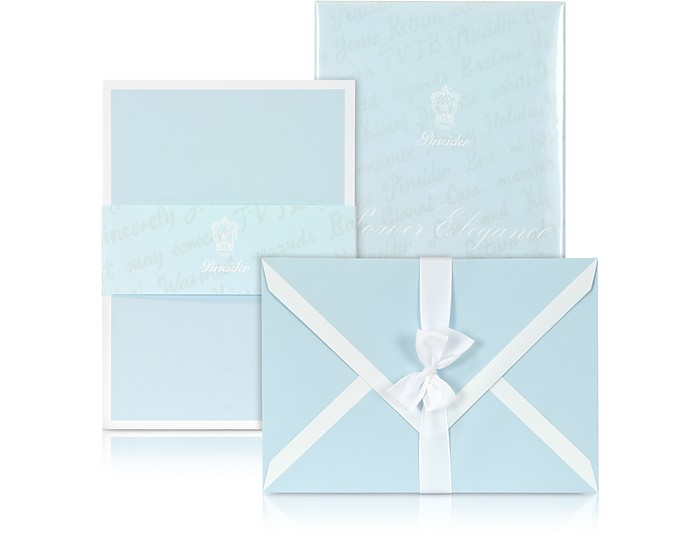 Power Elegance - 25 himmelblaue Kärtchen mit weißem Rahmen - Pineider