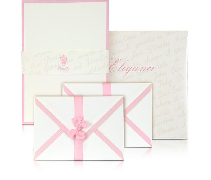 Power Elegance - 50 weiße Briefbögen und Umschläge - Pineider