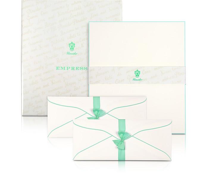 Empress - 50 weiße Briefbögen mit handgemaltem Rahmen - Pineider