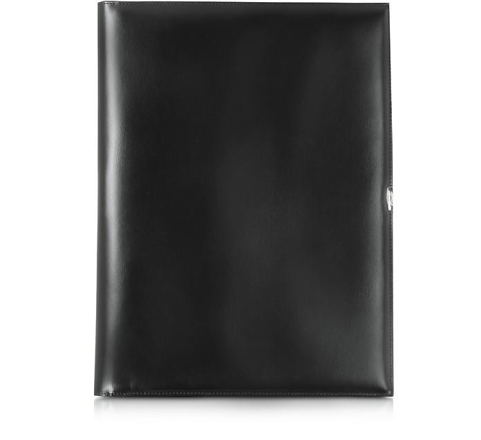 1949 A4 Notepad Mappe aus schwarzem Leder - Pineider