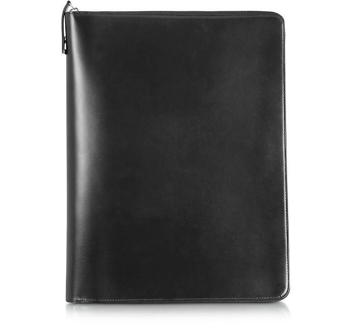 1949 A4 Notepad Mappe aus schwarzem Leder mit Reißverschluss - Pineider