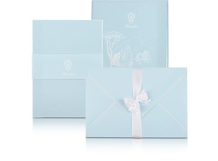 Capri - 25 Sky Blue Note Cards with Handpainted White Border - Pineider
