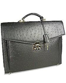Black Ostrich Stamped Calf Leather Briefcase - Fontanelli