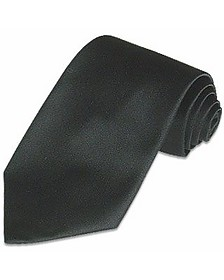 Solid Black Pure Silk Tie - Forzieri