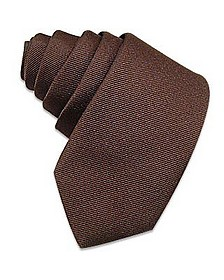 Solid Brown Twill Silk Narrow Tie - Forzieri
