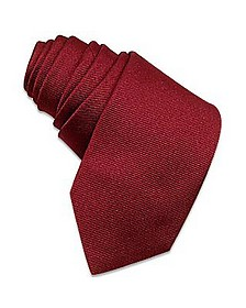 Solid Burgundy Twill Silk Narrow Tie - Forzieri