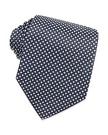 Blue Checks Extra-Long Basketweave Silk Tie - Forzieri