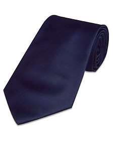 Solid Dark Blue Extra-Long Tie - Forzieri