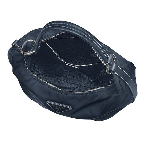 6f58d5a399 Logoed Dark Blue Nylon   Leather Medium Hobo Bag - Prada.  725.00 Actual  transaction amount