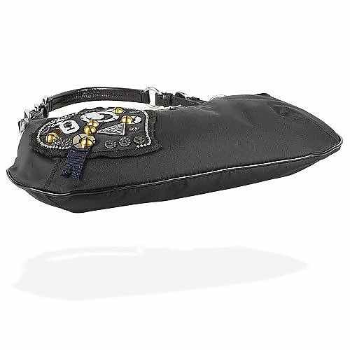 b887801ae1c2 Black Heart Patch Nylon & Leather Hobo Bag - Prada. Sold Out
