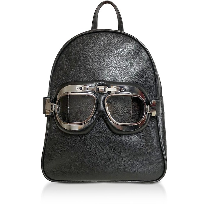 Black Leather Small Poshback Steam Backpack - Poshead