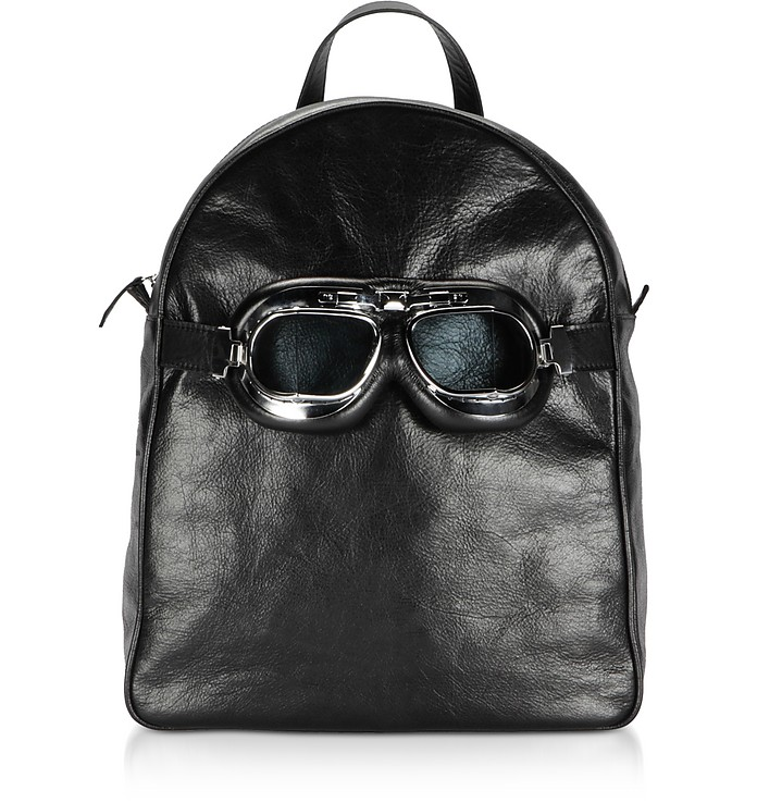 Large Black Leather Poshback Steam Backpack - Poshead