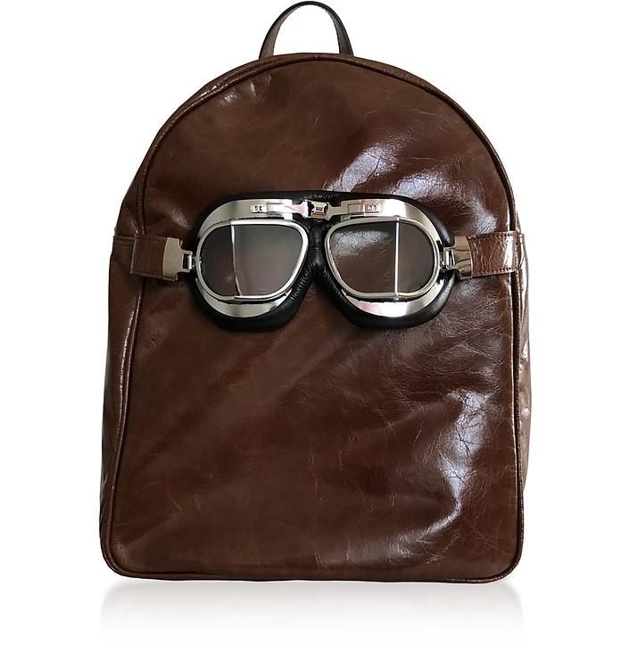 Large Brown Leather Poshback Steam Backpack - Poshead
