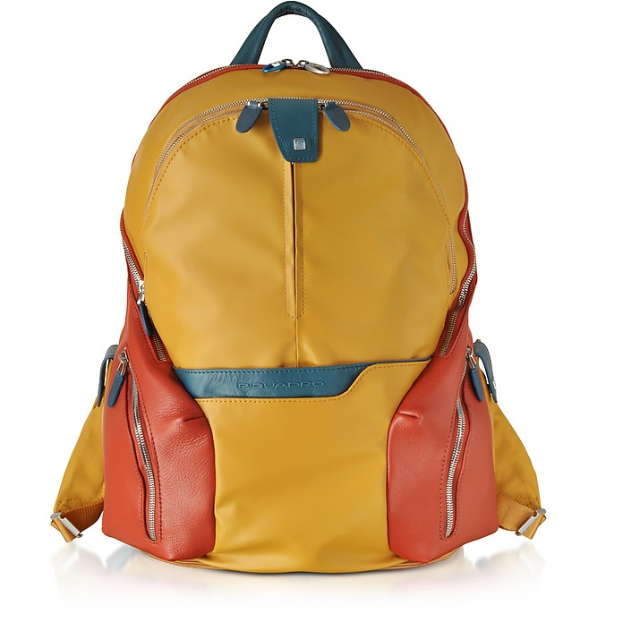 Nylon & Leather Computer Backpack - Piquadro