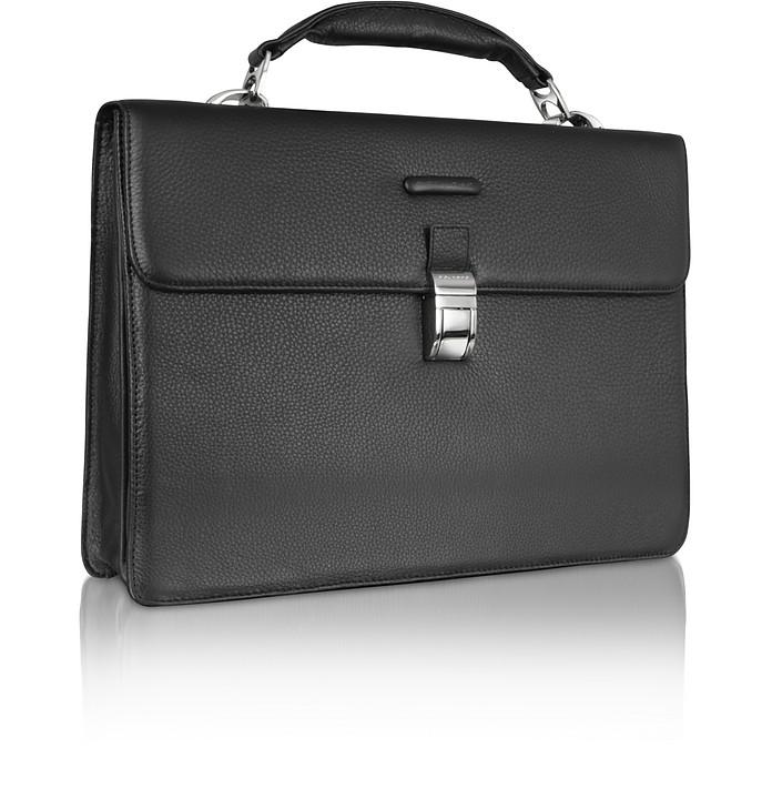 Modus - Laptop-Aktentasche aus schwarzem Leder - Piquadro