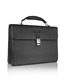 Modus - Black Leather Laptop Briefcase - Piquadro