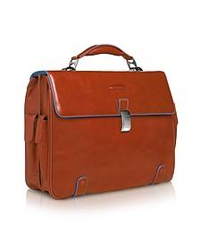 "Blue Square - Leather 15"" Laptop Briefcase  - Piquadro"