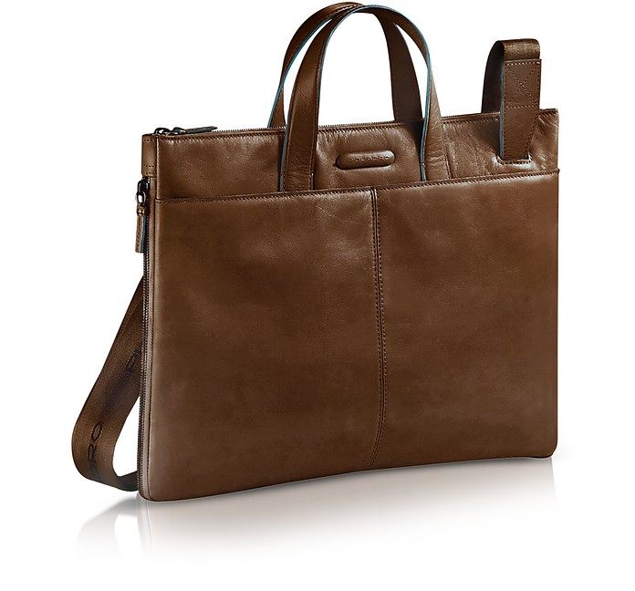 182761d34289 Piquadro Dark Brown Blue Square - Expandable Leather Business Bag at ...