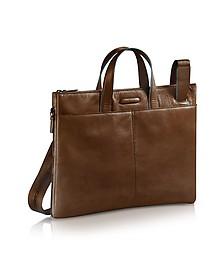 Blue Square - Expandable Leather Business Bag  - Piquadro