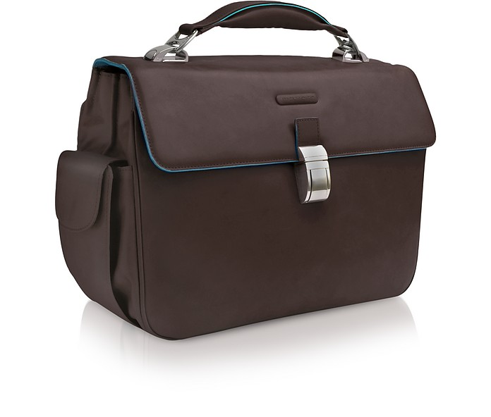 Blue Square - Leather Laptop Briefcase - Piquadro