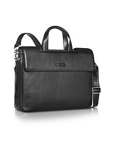 Modus - Expandable Black Calfskin Two-Handle Briefcase - Piquadro
