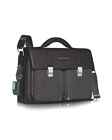 "Link - Double Front Pocket Double Gusset 15"" Laptop Briefcase - Piquadro"