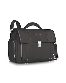 "Link - Front Pocket Double Gusset 15"" Laptop Briefcase - Piquadro"