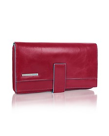 Blue Square - Red Zip Around Leather Wallet - Piquadro