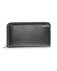 Blue Square - Zip Around Leather Wallet - Piquadro