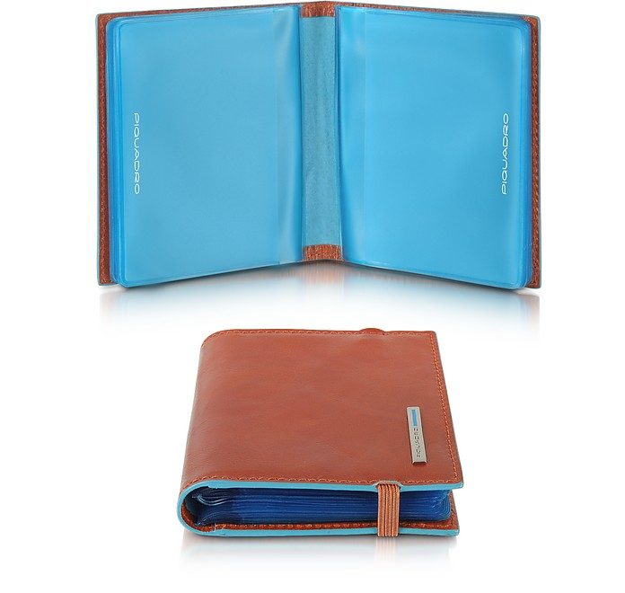Blue Square Pocket Credit Card Holder - Piquadro