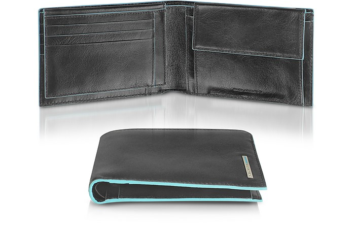 2419ebb8ebe Piquadro Black Blue Square - Men's Leather Card Holder & ID Wallet ...