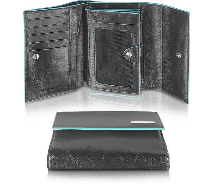 898308da2d Blue Square - Portafoglio Donna con Tre Soffietti Piquadro Nero su ...