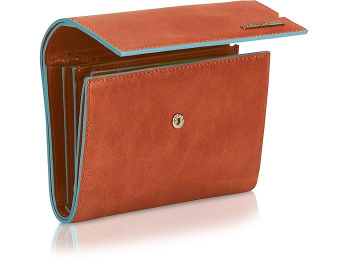 2fe79a9d9e Blue Square - Portafoglio Donna con Tre Soffietti Piquadro Arancio ...