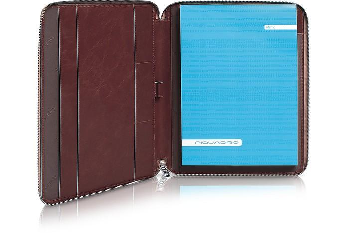 Blue Square - Zip Around Slim Notepad Leather Holder - Piquadro