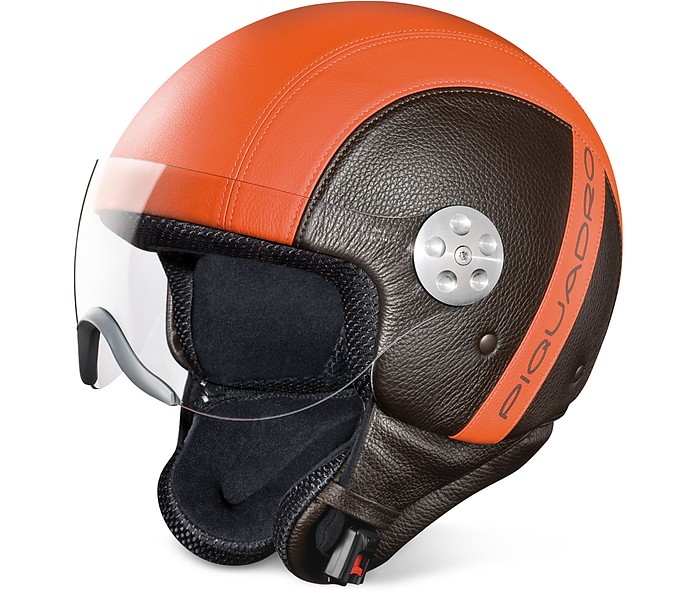 Piquadro Open Face Two-tone Leather Helmet W/visor